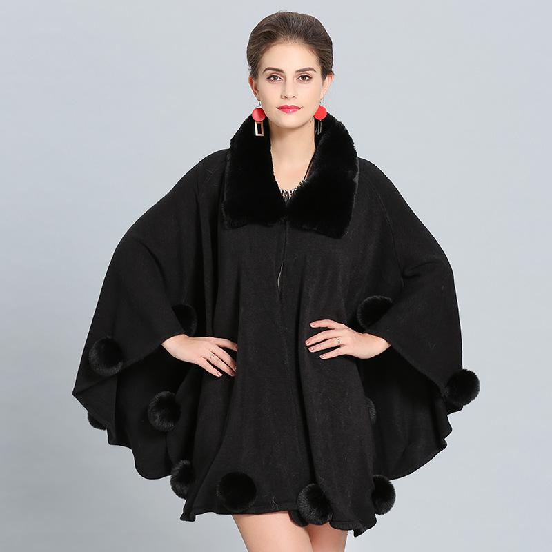 SC272 2018 Solid Black Grey Faux Fox Fur Neck Shawl Women Fur Ball Long Knitted Cardigan Winter Warm Thick Poncho Big Cloak in Women 39 s Scarves from Apparel Accessories