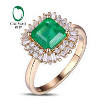 CaiMao 1.51 ct Natural Emerald 18KT/750 Yellow Gold 0.56 ct Full Cut Diamond Engagement Ring Jewelry Gemstone colombian