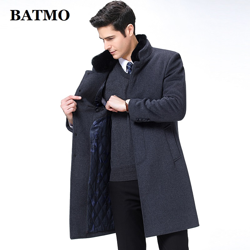 BATMO 2019 new arrival autumn&winter high quality wool long trench coat men,men's wool jackets,warm coat,plus-size M-XXXL,8808