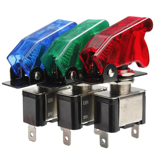 2016 Brand New Green Blue Red 12V 20A Car Cover LED SPST Toggle Rocker Switch Control On/Off