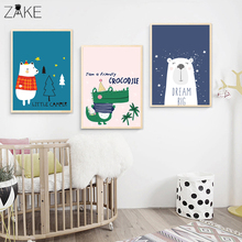 Cartoon Woodland Animal Bear Wall Art Canvas Nordic Posters Nursery Print for Baby Room Painting Picture Kids Bedroom Decoration