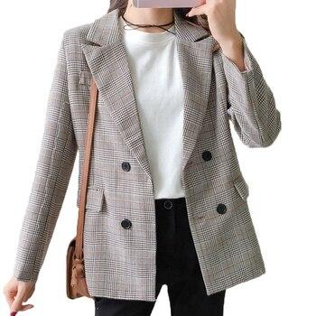 משובץ בלייזר נשים 2018 טור כפתורים כפול חורף מעיל נשים טרייל Feminina מזדמן עבודת חליפה ארוך שרוול מעיל Femme חאקי שיק
