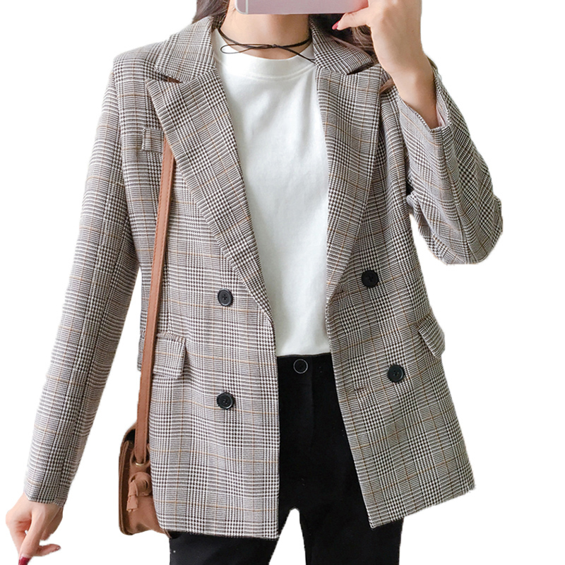 Plaid Blazer Women Double Breasted Winter Coat Woman Blazers Feminino Casual Work Suit Long Sleeve Jacket Mujer Chic Cotton