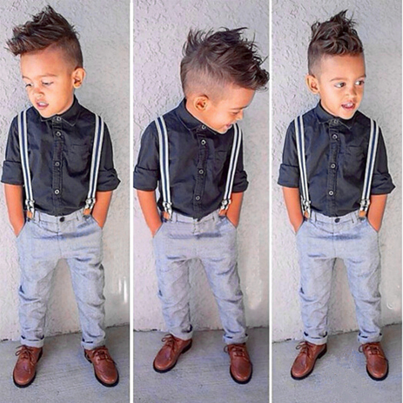 Baby Boys Kids Summer Formal Suits Boy Gentleman Clothes Set Long Sleeve Shirt+Suspender Trousers Children Overalls Pants