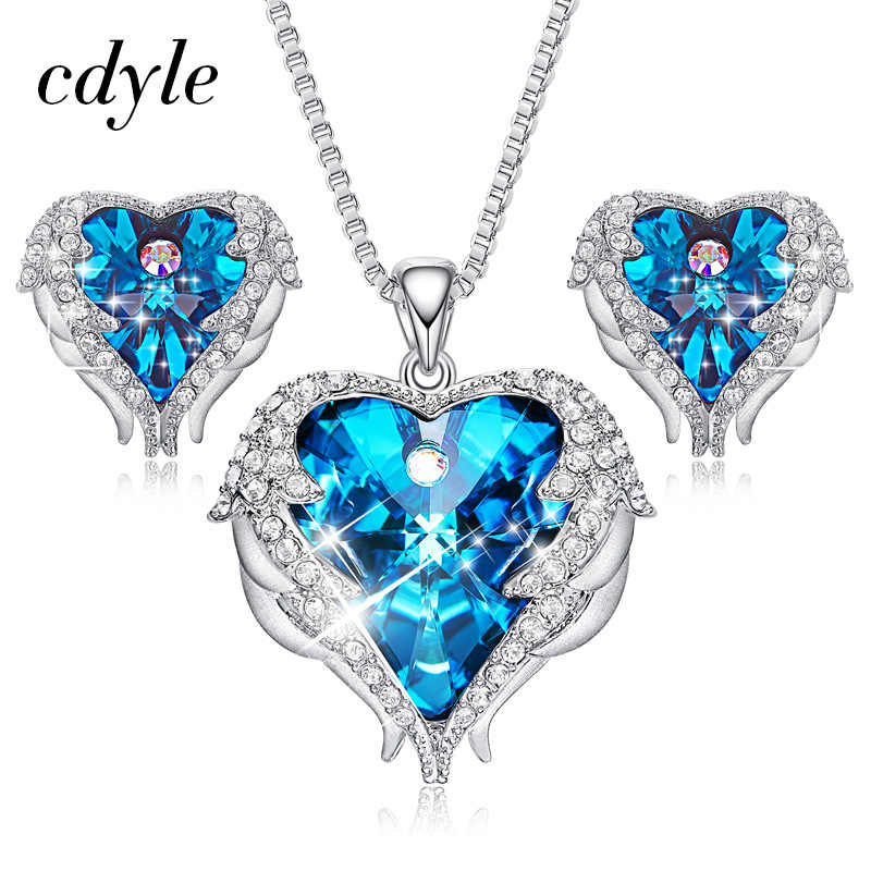 7c3991be7 Cdyle Crystals from Swarovski Angel Wings Necklaces Earrings Purple Blue  Crystal Heart Pendant Jewelry Set Best