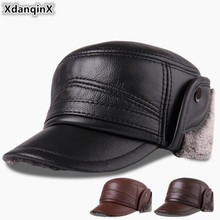 XdanqinX Winter Mens Cap Genuine Leather Hat Plus Velvet Thick Warm Baseball With Earmuffs Cowhide For Men