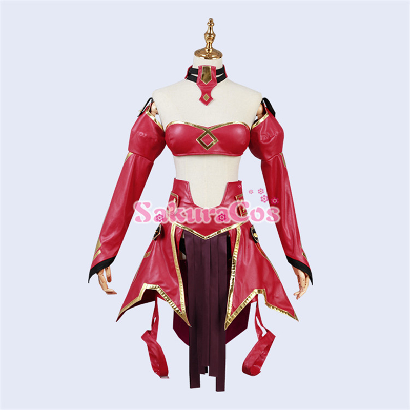 Anime Fate/apocrypha Mordred Battle Suit Cosplay Costume Women <font><b>Cos</b></font> <font><b>Sexy</b></font> Red Uniform H image