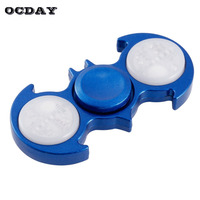 OCDAY Batman Hand Spinner Tri Fidget Spinner LED Light In Dark Glowing Fingertip Gyro Focus Autism