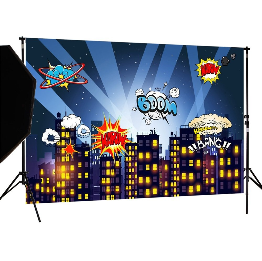Capisco Super City Photography Backdrop Theme Building Studio Super Hero Photo Background Prop For Photography Party