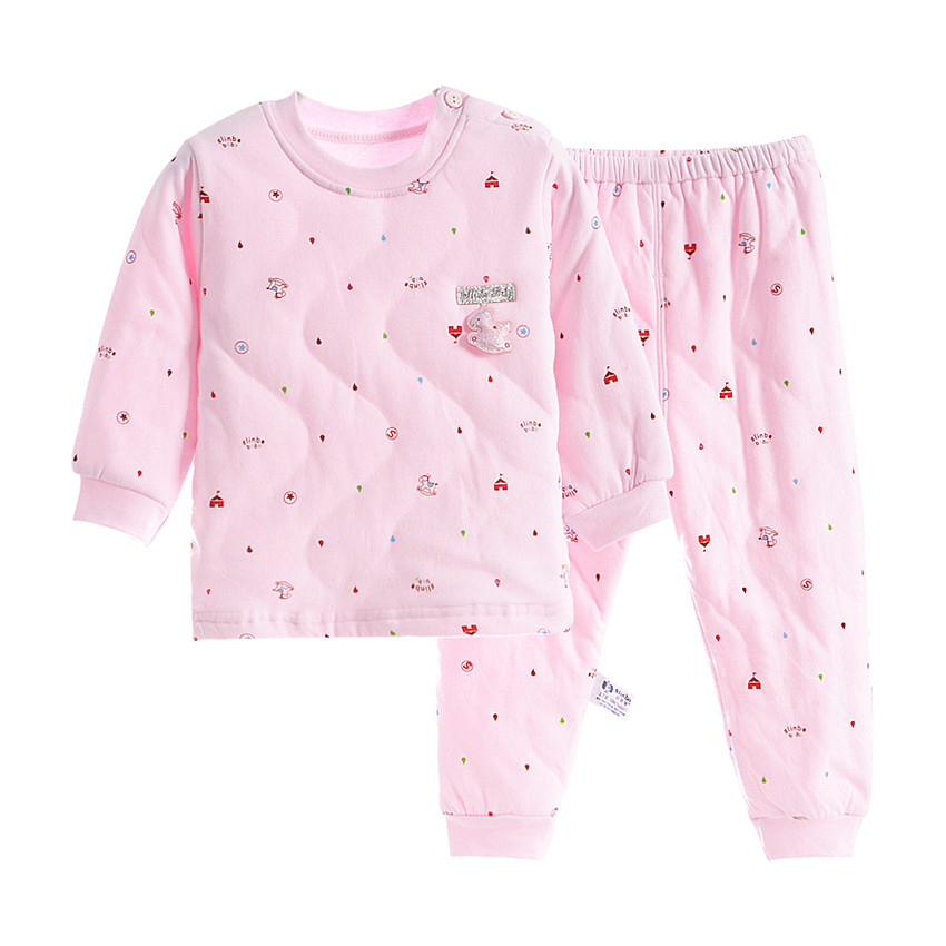 2018 New Winter Thick Kids   Pajamas     Set   Baby Boys Girls Quilted Super Warm Cotton Tops and Pants 2-10 Years Homewear Suits