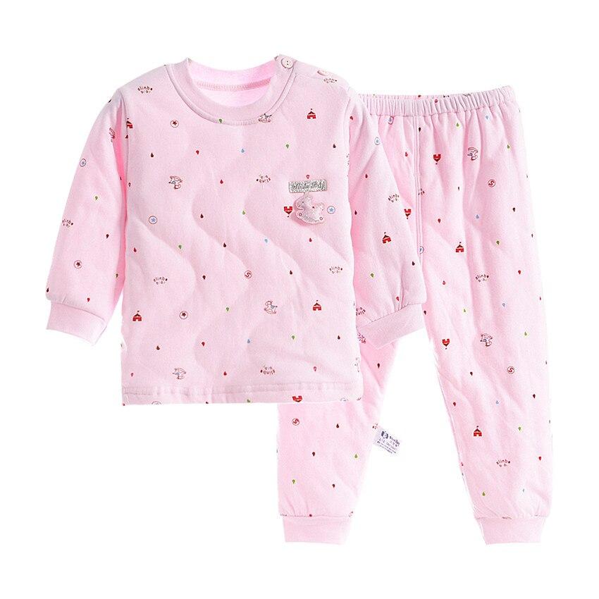2018 Nieuwe Winter Dikke Kids Pyjama Set Baby Jongens Meisjes Gewatteerde Super Warm Katoenen Tops En Broek 2-10 Jaar Homewear Pakken