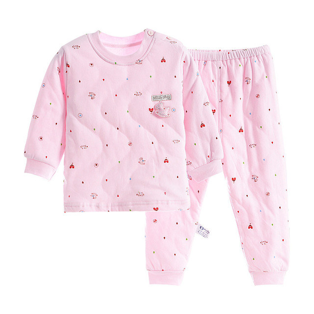 2019 New Winter Thick Kids Pajamas Set  Baby Boys Girls Quilted Super Warm Cotton Tops and Pants 2-10 Years Homewear Suits