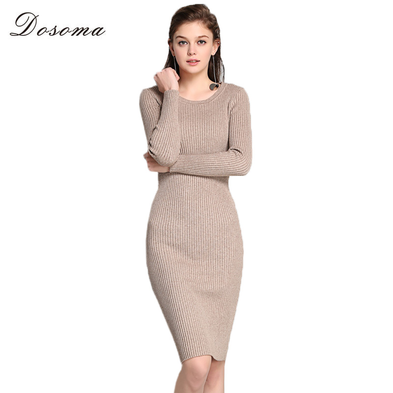 DOSOMA Women Sweater Dress 2017 New Autumn Winter Long Sexy Slim Bodycon Dresses Elastic Skinny Solid Knitted Sweater Dress