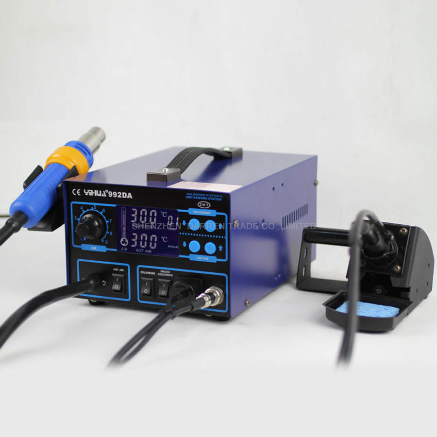 цена на 1pc 110V/220V YIHUA 992DA Digital Display Rework Soldering Station Hot Air Soldering Iron Gun