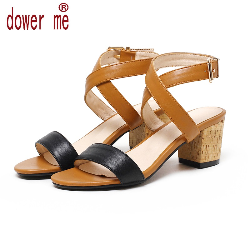 Dower Me 2017 Woman Buckle Sandals Women Soft Leather Summer Casual Shoes Open Toe Gladiator Square Heel Shoes Zapatos Mujer 412 2017 summer shoes woman platform sandals women soft leather casual open toe gladiator wedges trifle mujer women shoes b2792