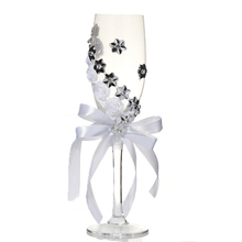 Лучший набор из 2 предметов, свадебное стекло, креативные серебряные цветы, хрустальные свадебные бокалы для шампанского, бокалы для красного вина, бокалы, свадебные декорации