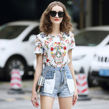 SEQINYY Cotton Top 2019 Fashion Design Summer Spring New High Quality Short Sleeve Flowers Print Luxury Beading T Shirt Women