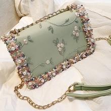 Cow Leather Flowers Messenger Small Bag Women Chain Shoulder Bag Exquisite Durable Ladies Messenger Bags