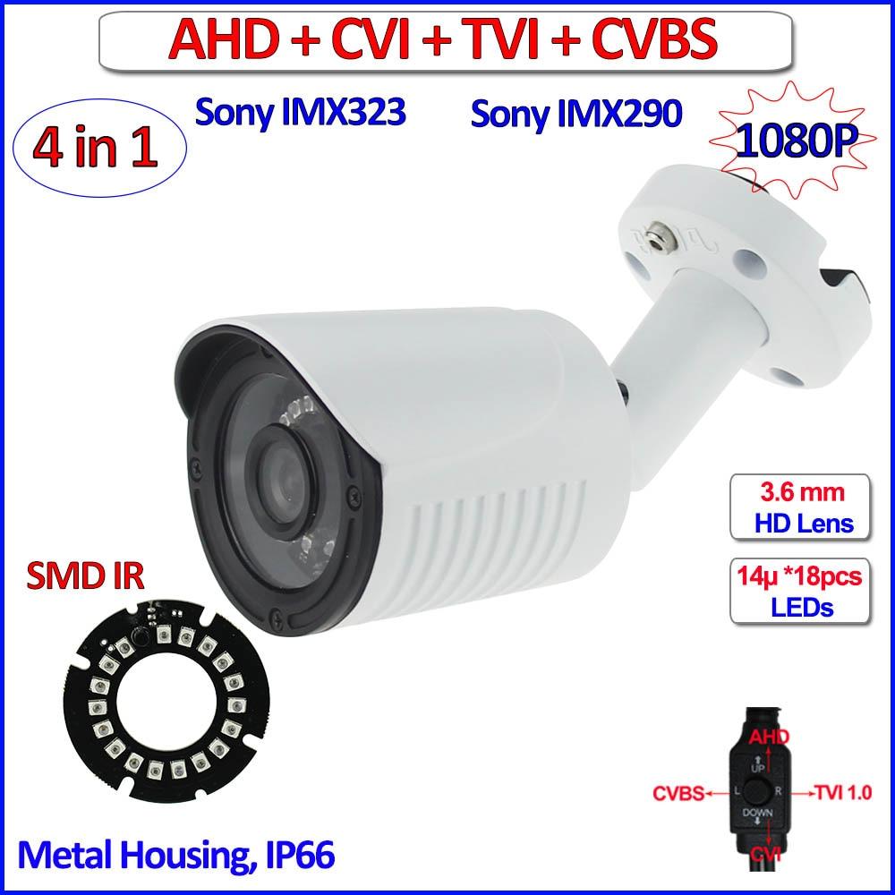 imx323 imx290 Sensor 1080P AHD HDCVI HDTVI 4in1 surveillance camera 2MP Color Night Vision outdoor security camera, free bracket orient tk 323