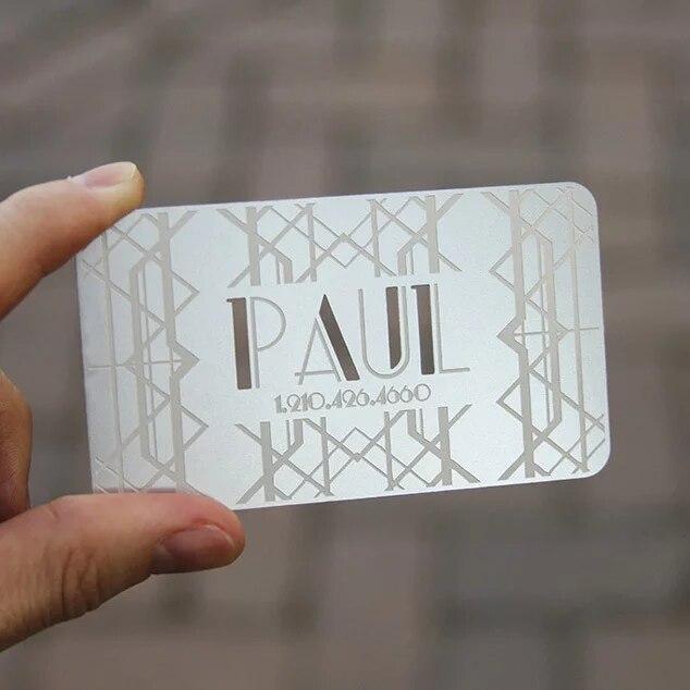 Купить с кэшбэком Engraved Cutout Stainless Steel Metal Business Card Printing Color