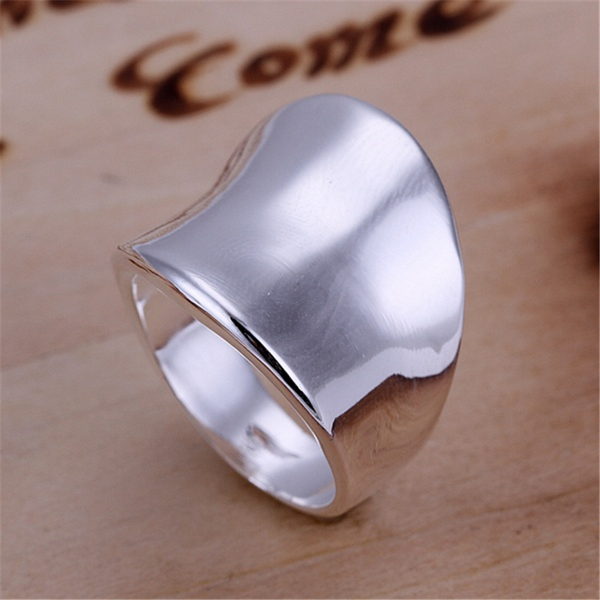 R52 Christmas gift free shipping wholesale Fashion Thumb smooth silver color ring high quality fashion classic Jewelry 1