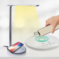 USB Charge LED Lamp Desk Modern Touch Switch Table Lamp Wireless Phone Charger Reading Study Light for Bedroom