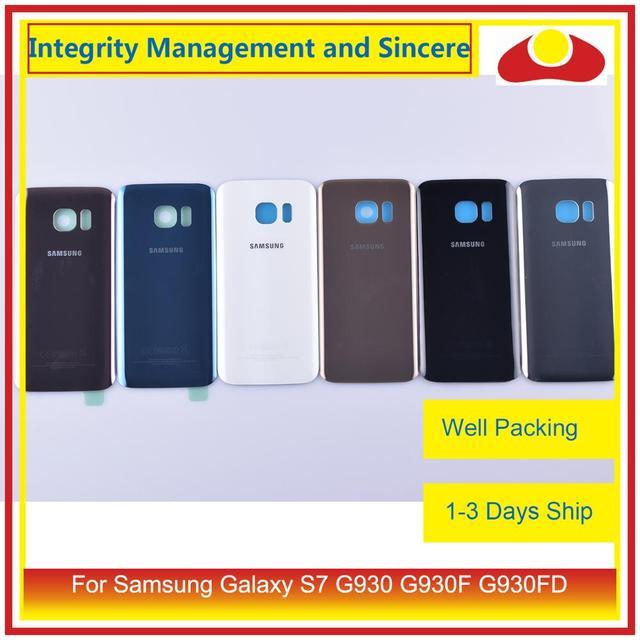 50 Pz/lotto per Samsung Galaxy S7 G930 G930F G930FD SM G390F Dellalloggiamento Del Portello Della Batteria Posteriore Della Parte Posteriore di Caso Della Copertura di Vetro Del Telaio Borsette