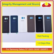50 pçs/lote Para Samsung Galaxy S7 G930 G930F G930FD SM G390F Traseira Tampa Traseira de Vidro Habitação Porta Da Bateria Caso Shell Chassis