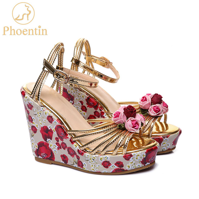 Phoentin platform wedge sandals with flower printing ankle buckle gold women shoes high heel 11cm leather sandals handmade FT387