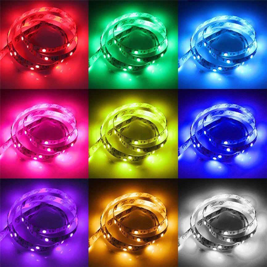 50-200 Cm USB Tidak Tahan Air Lampu Strip LED TV Kembali Lampu 5050RGB Warna Berubah + Remote Control 1206