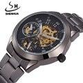 SHENHUA Auotmatic Relógios Mecânicos Para Homens Top Marca de Luxo Masculino Relógio Steampunk Esqueleto Preto Relógios À Prova D' Água À Prova de Choque