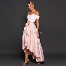 Neue Ankunft 2 Stück Prom Kleider Rosa High Low Günstige formale Party Kleider Couture 2016 Mädchen Graduierung Kleid Vestido De Formatura