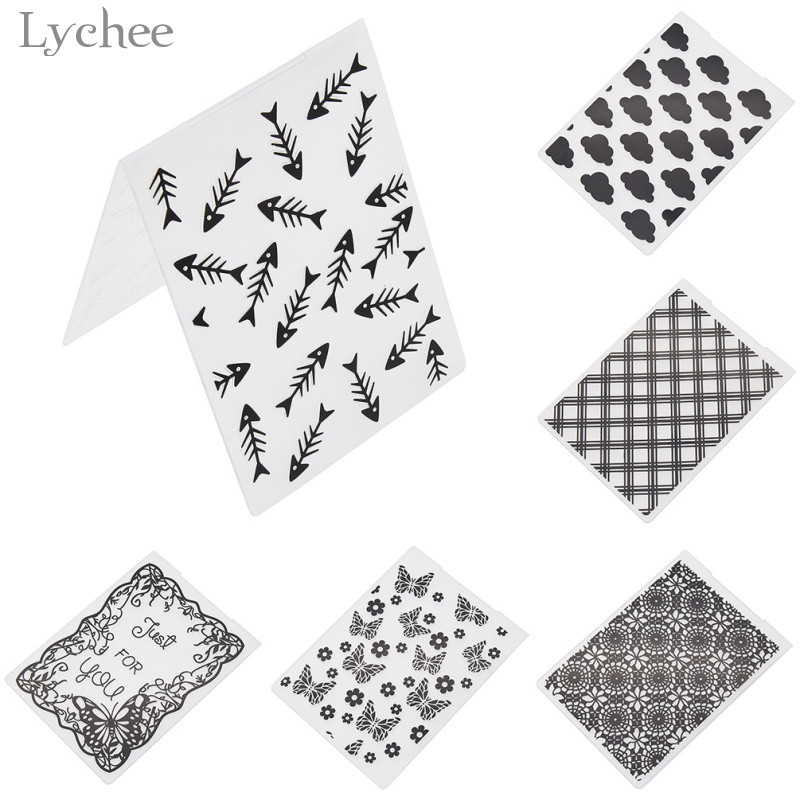 Lychee 1pc Plastic Embossing Folder For Scrapbook DIY Album Card Tool Template Stamp Card Making Decoration Butterfly Fish Bone plastic standing human skeleton life size for horror hunted house halloween decoration