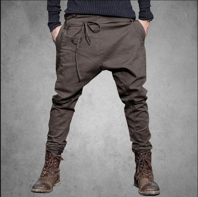 6ee3044383d 2017 Бесплатная доставка мужские новые осенние уникальные талии веревка  узкие брюки мужские модные повседневные брюки шаровары
