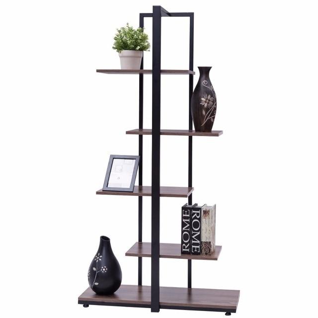 "Goplus 5 Tiers Bookcase 60"" Modern Open Concept Display Etagere Living Room Shelf Bookshelf Storage Display Furniture HW56037"