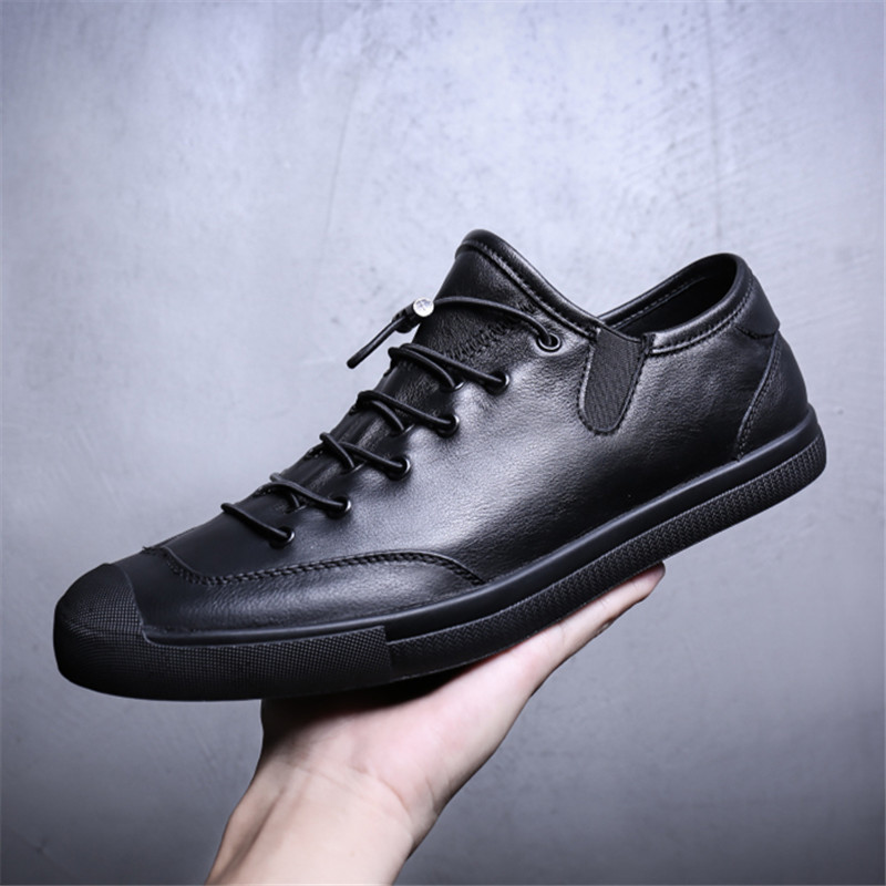 RUIDENG menn casual sko mote ekte lær mannlig mote flat med blonder - Herresko