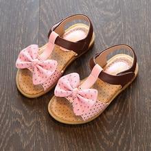 Fille Sandales Pour Enfants Princesse Chaussures Enfants Bébé De Mode Plage Chaussures Bébé Sandales Avec Bow Chaussures 2017 D'été Dot Sandales
