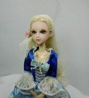 European style Doll Head / Gold Hair 3D Eyes Real Eyelash Hand Drawing make up Blue Eyes DIY For 1/6 Xinyi OB White Skin Doll