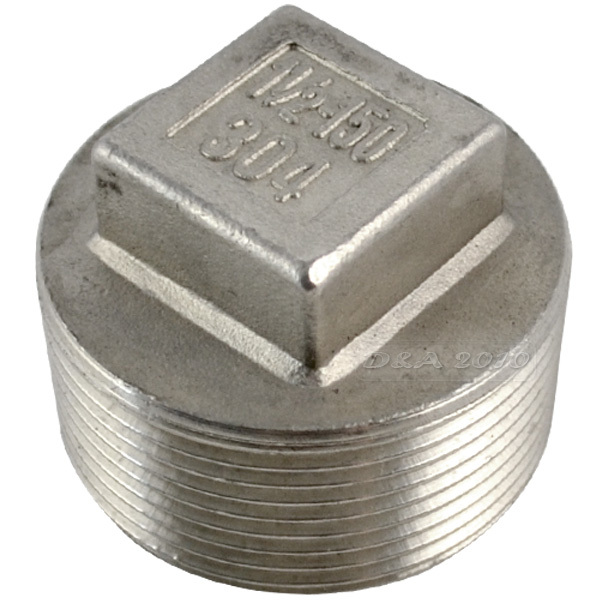 """1-1//4/""""Malleable Square Head Pipe Fitting Plug Threaded Male SS 304 NPT"""