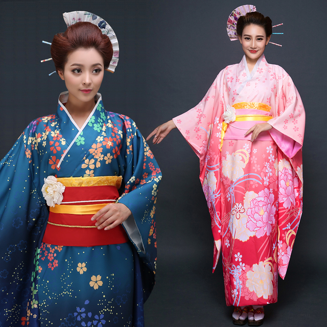 2018 summer japanese traditional cotton clothing kawaii japan yukata kimono women flowers kimono dress yukata japanese kimono