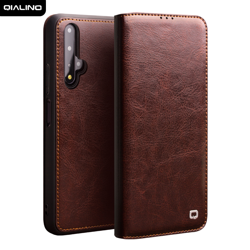 QIALINO Luxury Genuine Leather Flip Case for Huawei Honor 20 Pure Handmade Cover with Card Slot