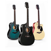 40/41 inch Guitar Guitarra Acoustic Folk Guitar for Beginners 6 Strings Basswood with Sets Black Wood Guitar Colors