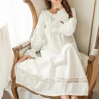 100% cotton Pure Royal Pure white Nightgown Princess Long Sleeve Nightdress Ladies Sleepwear White Women's Nightwear B4077