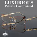 Luxury Gold Glasses Frames Men Rhinestone Eyeglass Frame High Clear Lens Anti Reflective Rimless Optical Complete Spectacles 645