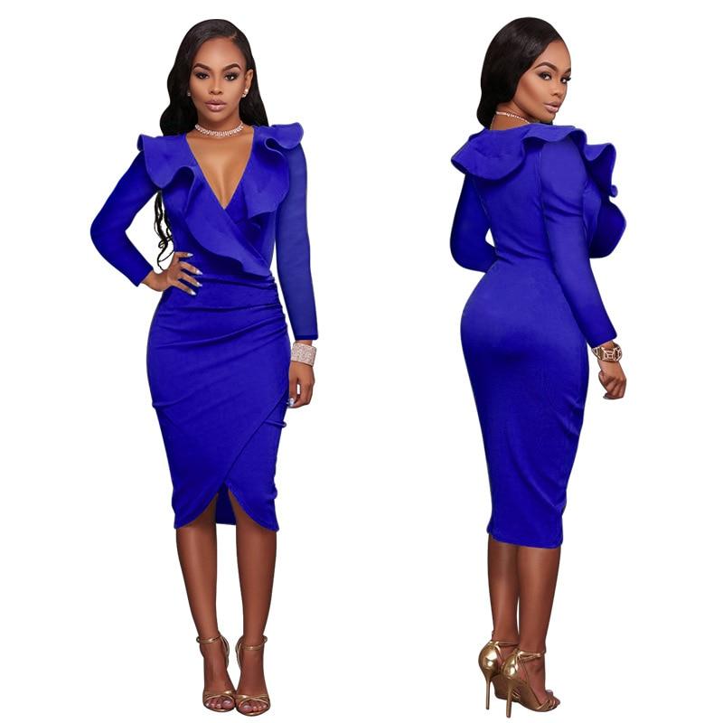 2018 high quality hot style fashionable European and European standard code sexy V neck, long sleeve hip dress dress women