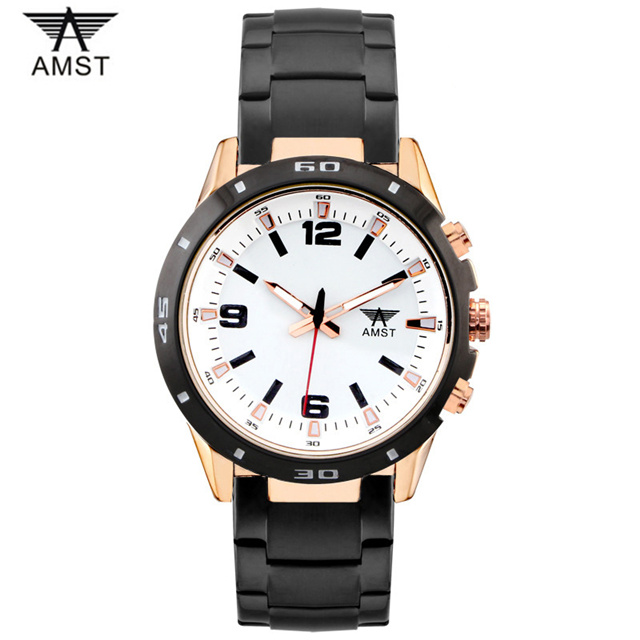 AMST Luxury Brand Fashion Men Watch Stainless Steel Business Men's Quartz Watches Cascual Pilot Military Sport Wristwatch Clock