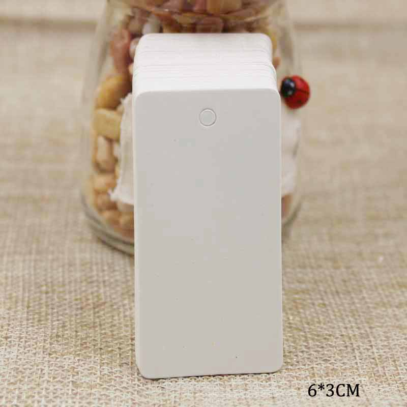 ZerongE Jewelry  6*3cm Pure White Paper Wedding Tag Card / Blank Candy Favor  Gift Tag / DIY Tag /Price Label 100pcs Per Lot