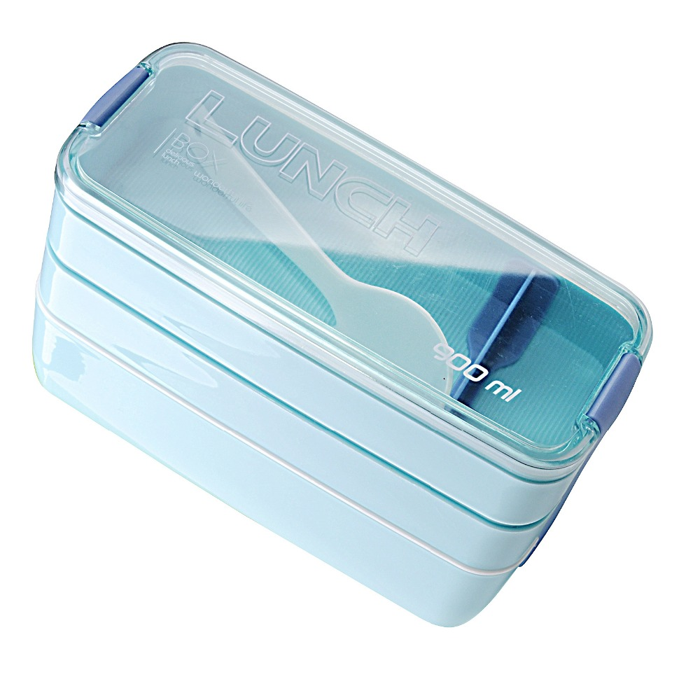 Hot Sales 900ml Portable 3 Layer Healthy Lunch Box Food Container Microwave Oven Lunch Bento Boxes Lunchbox