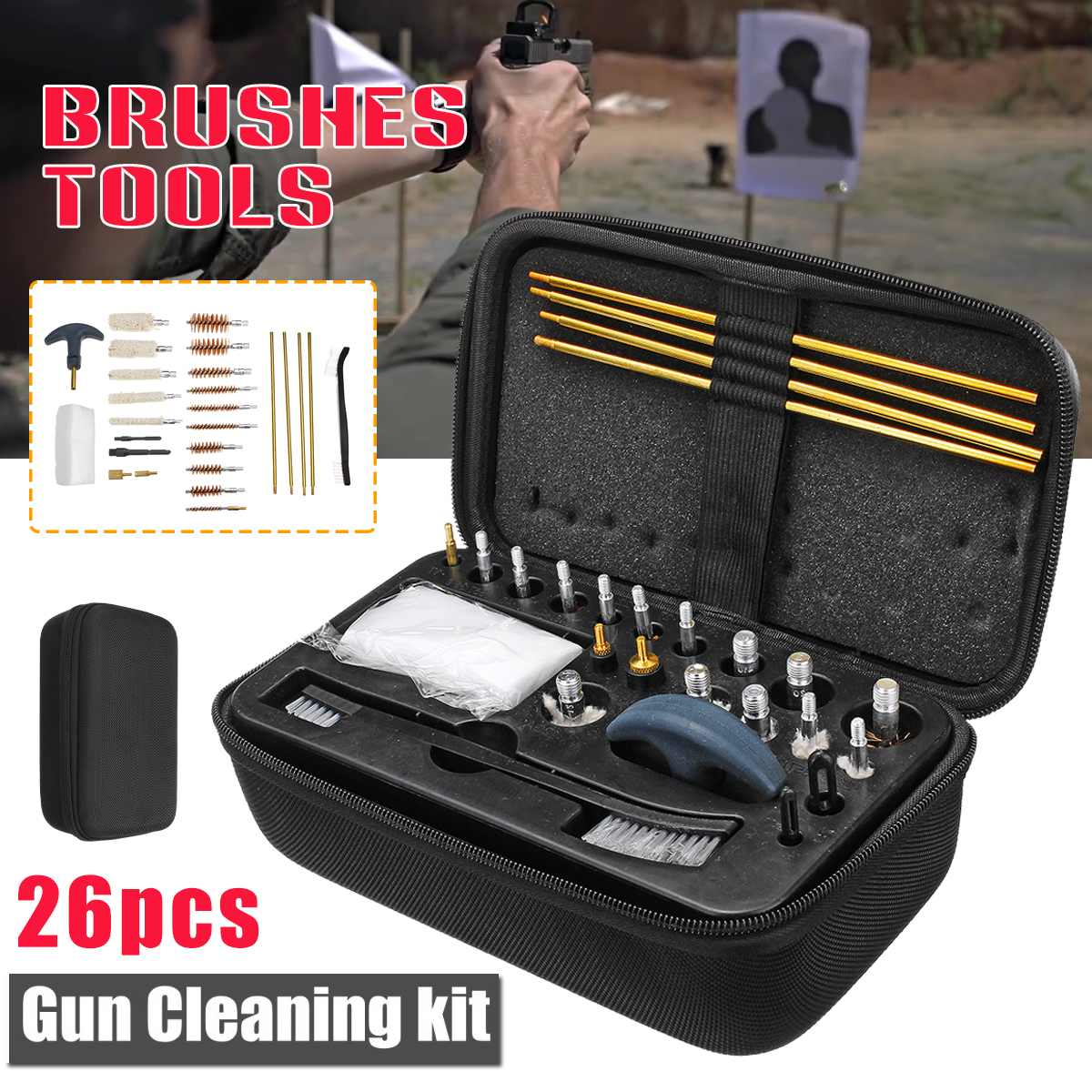 Universal Gun Cleaning Kit For Rifle Pistol Handgun Shotgun Brush Tool Portable Guns