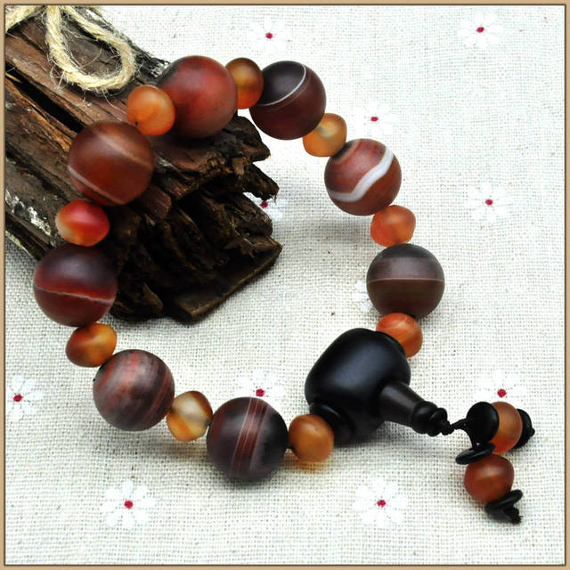 Yumten Bracelets Vintage Jewelry For Men Women Classic Agate Stone Natural Strand Bracelets Crystal Beads Fine Ethnic Style Bag
